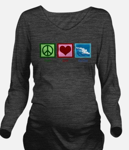 Peace Love Surfing Long Sleeve Maternity T-Shirt