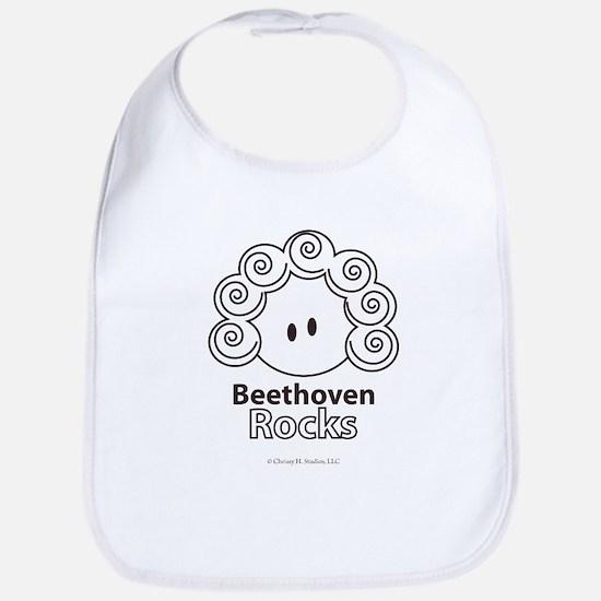 Beethoven Rocks Dark Brown and White Bib