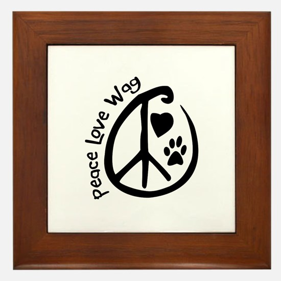 Peace Love Wag Framed Tile
