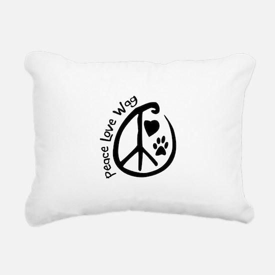 Peace Love Wag Rectangular Canvas Pillow