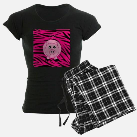 Pig Pig on Pink Zebra Stripes Pajamas