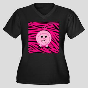 Pig Pig on Pink Zebra Stripes Plus Size T-Shirt
