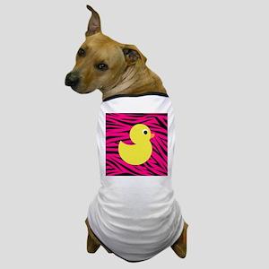 Yellow Duck on Pink Zebra Stripes Dog T-Shirt