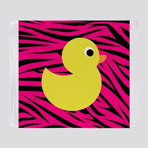 Yellow Duck on Pink Zebra Stripes Throw Blanket