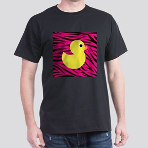 Yellow Duck on Pink Zebra Stripes T-Shirt