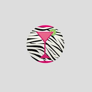 Pink Cocktail on Zebra Stripes Mini Button