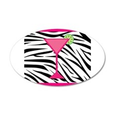 Pink Cocktail on Zebra Stripes Wall Decal