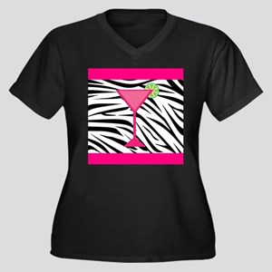 Pink Cocktail on Zebra Stripes Plus Size T-Shirt
