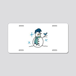 Winter Snowman Aluminum License Plate