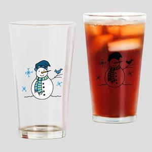 Winter Snowman Drinking Glass