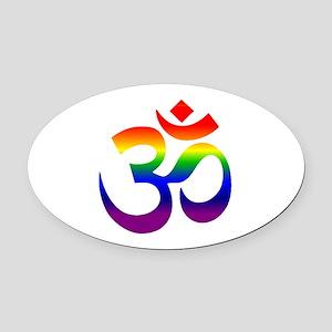 big rainbow om Oval Car Magnet