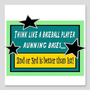 """Running Bases Square Car Magnet 3"""" x 3"""""""