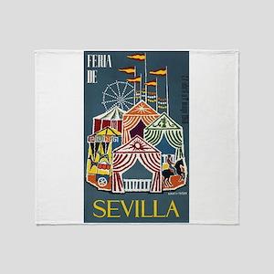 Spain 1960 Seville Festival Poster Throw Blanket