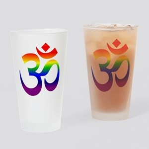 big rainbow om Drinking Glass