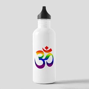 big rainbow om Water Bottle