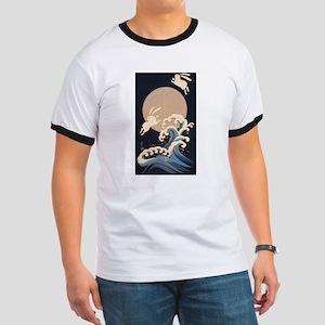FULL MOON, WAVE, RABBITS T-Shirt