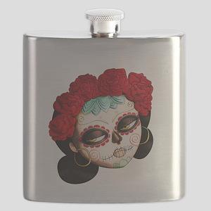El Dia de Los Muertos Girl Flask