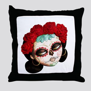 El Dia de Los Muertos Girl Throw Pillow