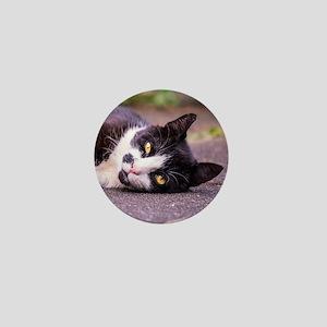 Black and white cat Mini Button