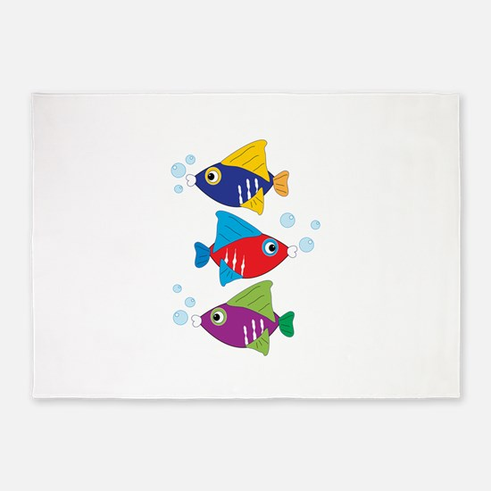 Colorful Fish 5'x7'Area Rug