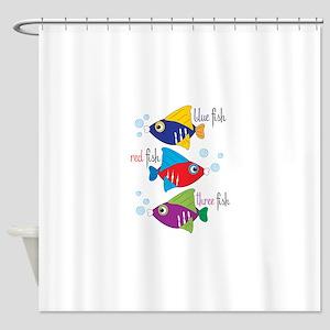 Blue Fish,Red Fish &Three Fish Shower Curtain