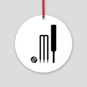 Cricket ball bat stumps Ornament (Round)