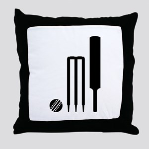 Cricket ball bat stumps Throw Pillow