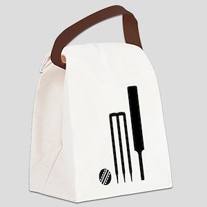 Cricket ball bat stumps Canvas Lunch Bag