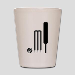 Cricket ball bat stumps Shot Glass