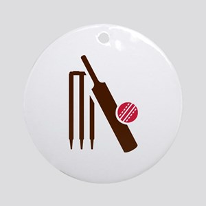 Cricket bat stumps Ornament (Round)