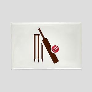 Cricket bat stumps Rectangle Magnet