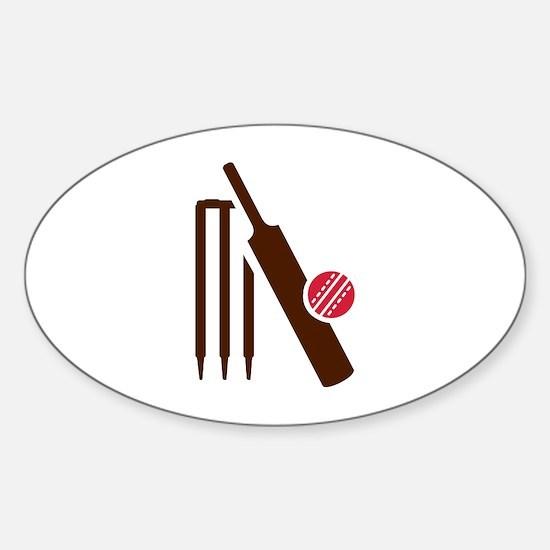 Cricket bat stumps Sticker (Oval)