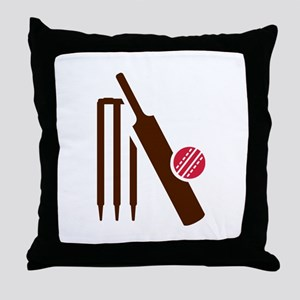 Cricket bat stumps Throw Pillow