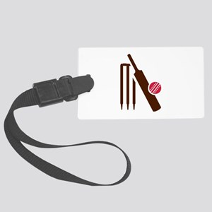 Cricket bat stumps Large Luggage Tag
