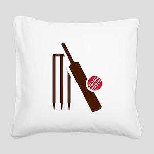 Cricket bat stumps Square Canvas Pillow