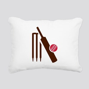 Cricket bat stumps Rectangular Canvas Pillow