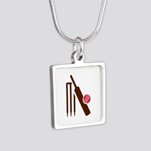 Cricket bat stumps Silver Square Necklace