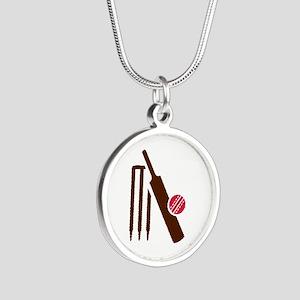 Cricket bat stumps Silver Round Necklace