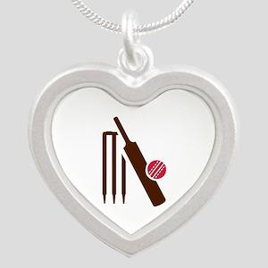 Cricket bat stumps Silver Heart Necklace
