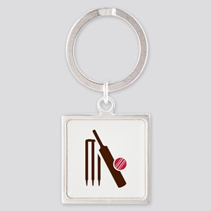Cricket bat stumps Square Keychain