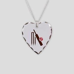 Cricket bat stumps Necklace Heart Charm