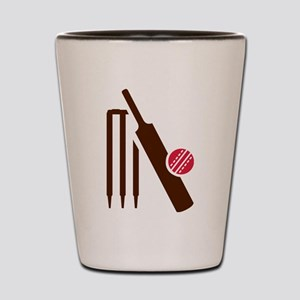 Cricket bat stumps Shot Glass