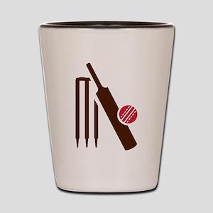 Cricket bat stumps Shot Glass