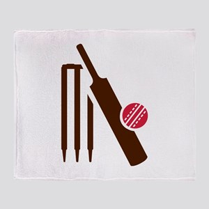 Cricket bat stumps Throw Blanket
