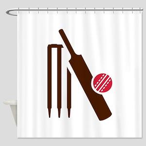 Cricket bat stumps Shower Curtain