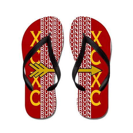 Cross Country Running Red gold Flip Flops