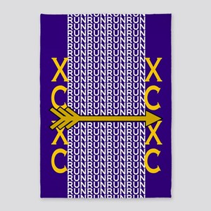 Cross Country Running Purple gold 5'x7'Area Rug