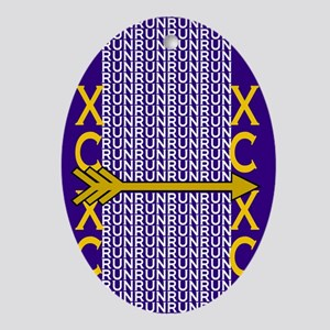 Cross Country Running Purple gold Ornament (Oval)