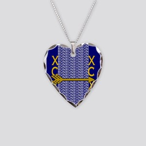 Cross Country Running blue go Necklace Heart Charm