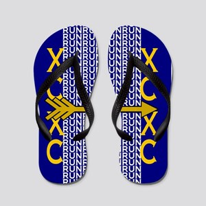 Cross Country Running blue gold Flip Flops
